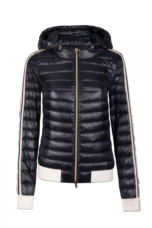 Herno Women's Striped Sleeve Padded Jacket Navy