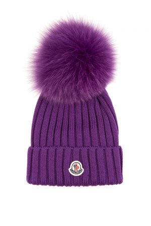 Moncler Women's Pom-pom Beanie Hat Purple