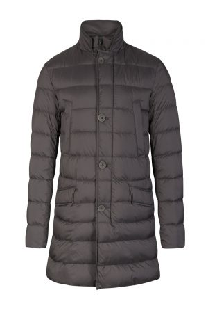 Herno Men's Double Layered Quilted Coat Grey