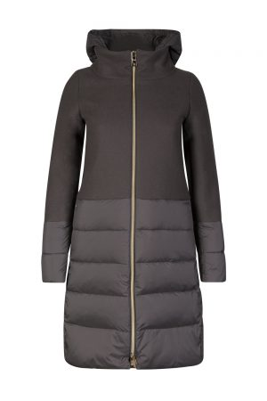 Herno Women's Contrast Quilted Panel Coat Grey