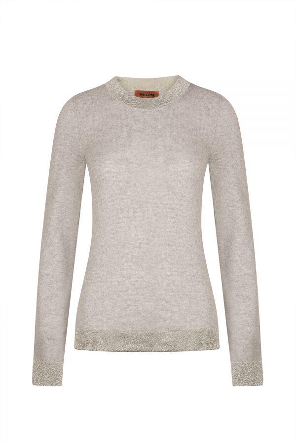 Missoni Women's Contrast Lamé Panel Sweater Grey