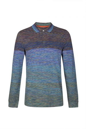 Missoni Men's Space-dye Long-sleeved Polo Shirt Blue