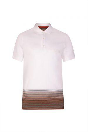 Missoni Men's Contrast Striped Hem Polo Shirt White