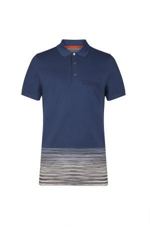 Missoni Men's Cotton-piqué Short-sleeved Polo Shirt Blue
