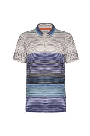 27ee8d2e5ab7 Missoni Men's Colour Block Striped Polo Shirt Blue – New W19 Collection
