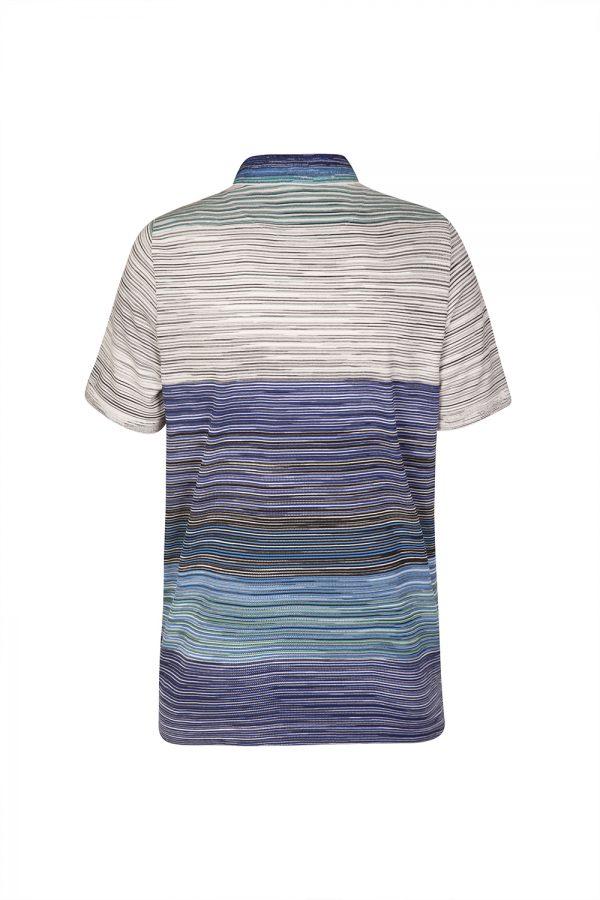 Missoni Men's Colour Block Striped Polo Shirt Blue