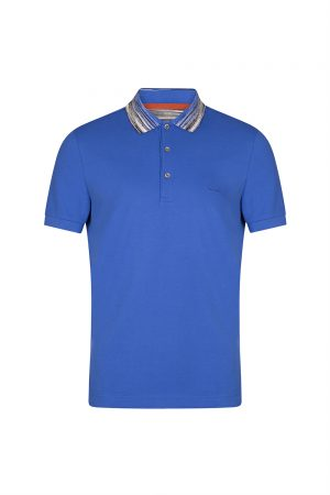 Missoni Men's Space-dyed Collar Polo Shirt Blue
