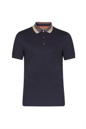 Missoni Men's Contrast Striped Collar Polo Shirt Navy