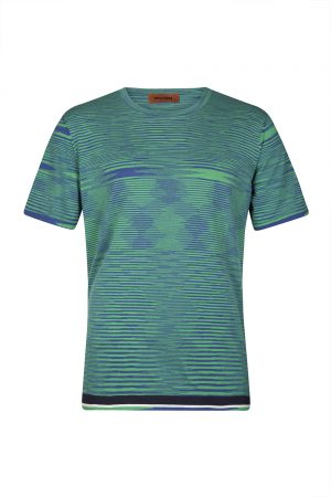Missoni Men's Abstract Patterned Cotton T-shirt Green