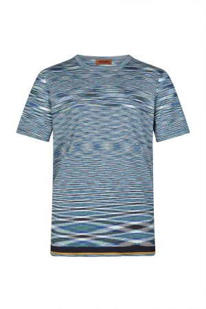 Missoni Men's Space-dye Knitted Cotton Top Blue