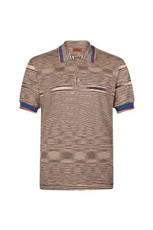 Missoni Men's Space-dyed Knitted Polo Shirt Brown