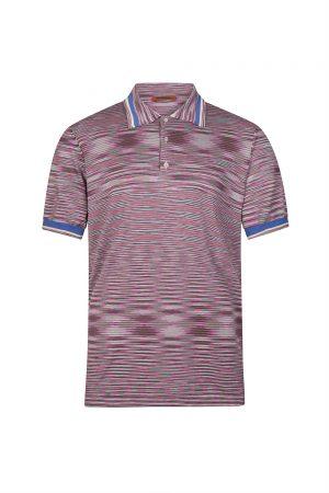 Missoni Men's Cotton Jersey Striped Polo Shirt Pink