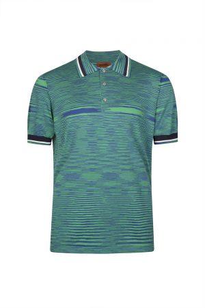 Missoni Men's Cotton Jersey Space-dye Polo Shirt Green
