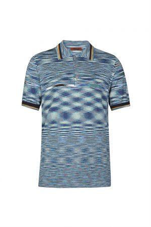 Missoni Men's Optical-patterned Cotton Polo Shirt Blue