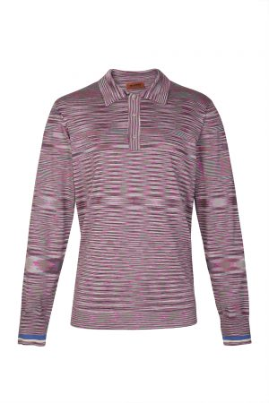 Missoni Men's Space-dye Long-sleeved Polo Shirt Pink