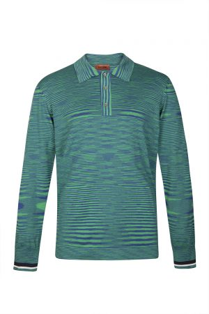 Missoni Men's Cotton Jersey Space-dyed Polo Shirt Green