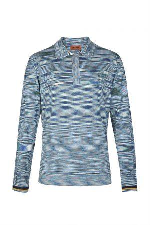 Missoni Men's Marled Long-sleeved Polo Shirt Blue
