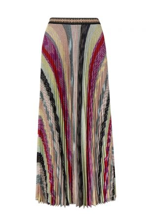 Missoni Women's Lamé Knitted Pleated Long Skirt Multicoloured