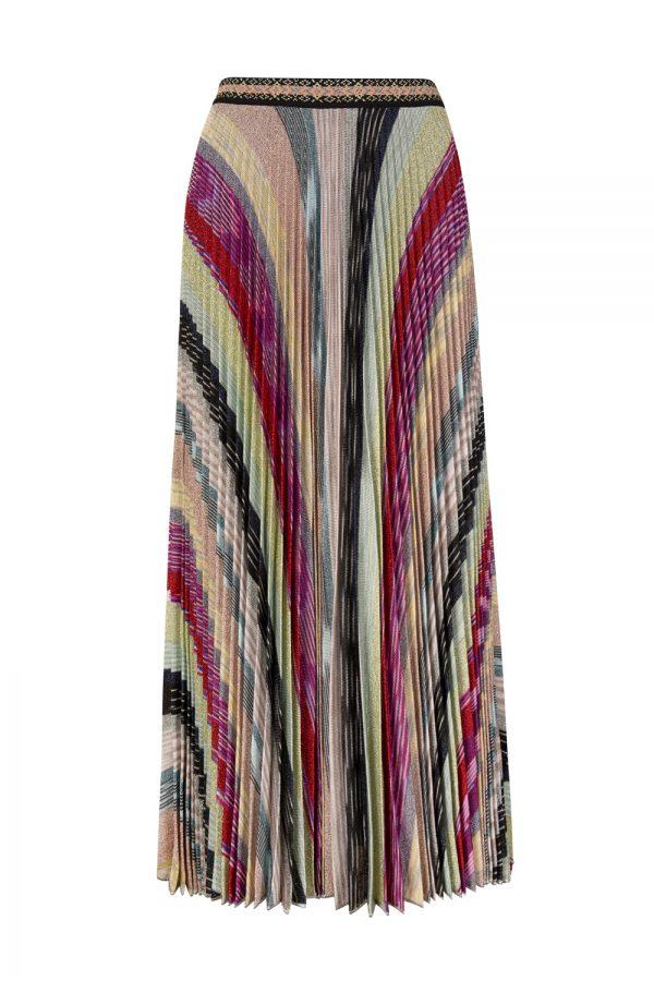 Missoni Women's Lamé Knitted Pleated Long Skirt Multicoloured
