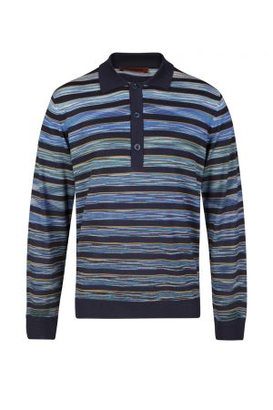 Missoni Men's 3-button Striped Polo Shirt Blue