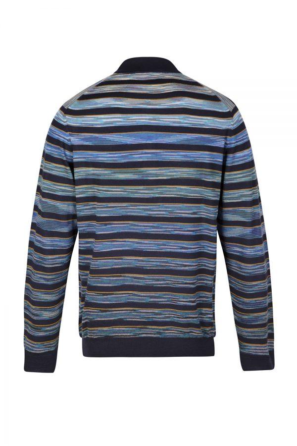 Missoni Men's 3-button Striped Polo Shirt Blue