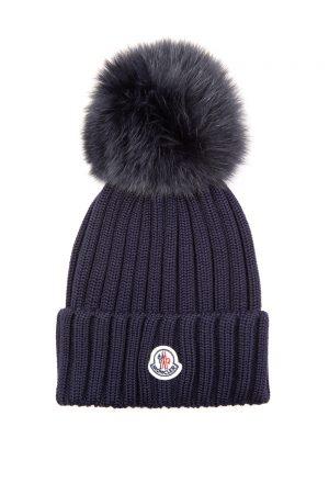 Moncler Women's Fur Pom-pom Beanie Hat Navy