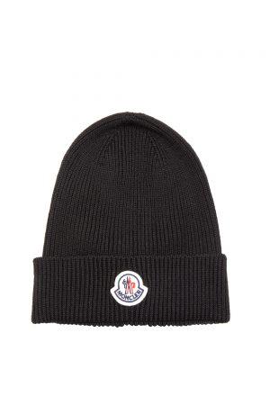Moncler Men's Rib-knit Beanie Hat Black